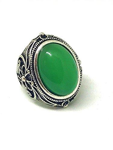 yigedan Frauen Rund Grün Jade Stein Kristall Vintage Retro Silber Ring