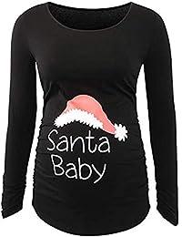 Longzjhd Damen Drucken Weihnachten Lange Ärmel Mutterschaft oben Schwangerschaft Kleider Langarm Stillshirt Mama Schwangerschaft Kleidung Umstandsmode T-Shirt S-XXL