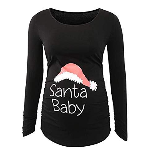 bb20f0207 QinMM Premamá Camisa de Navidad de Manga Larga para Mujer Embarazada  Christmas Camiseta Santa Claus Printed