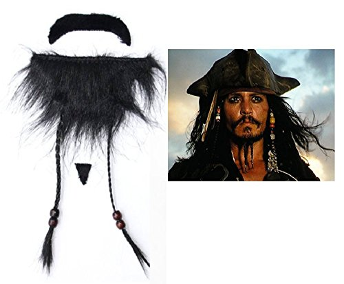 Inception Pro Infinite 1 X Fake Beard Pirata del Caribe Jack Sparrow For Parties Adhesivos para Hombres - Niños - Adultos - Carnaval - Halloween -