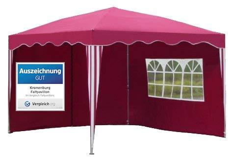 Kronenburg Falt Pavillon Dachmaß 3 x 3 m mit 2 Seitenteilen in Rot - Auszeichnung GUT