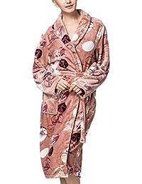 Albornoz Mujer Otoño Invierno Suave Coral Fleece Batas Mode De Marca Impresión Pijamas Mujer Manga Larga