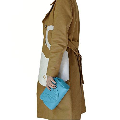 """BORGENNI borsa da donna tipo pochette a tracolla pochette piccola in vera pelle con tracolla, """"La Sei"""" Turchese"""