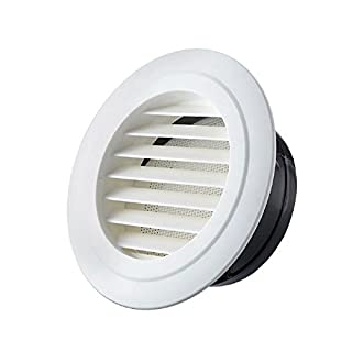 OOPPEN 100mm Diameter Round Air Vent Grille Cover Louver Ventilation Cover in Premium ABS with Anti Insect Mesh for ducting (ø100mm)