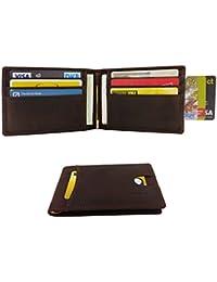 FreeHaveFun Leder RFID Schutz Damen Herren Geldklammer NFC Wallet Geldbörse Brieftasche Portemonnaie Kreditkartenetui Blocker Geldbeutel Kreditkartenhalter Portmonee