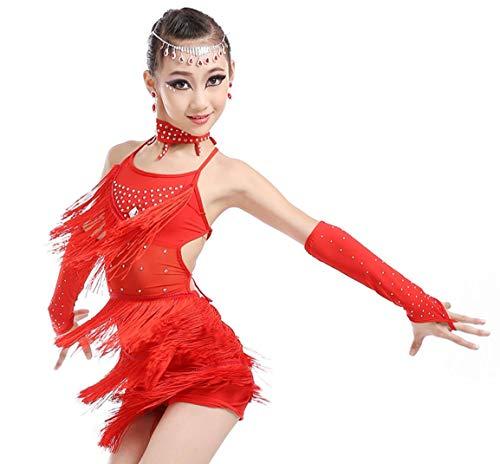 SMACB Kinder Latin Dance Kostüme Mädchen Quasten Latin Dance Kostüm Wettbewerb Tanz Kostüm Wettbewerb,Red,160CM