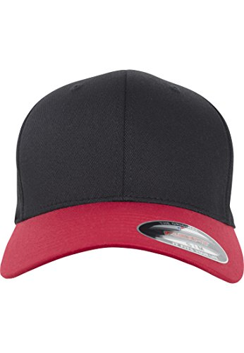A-flex-fitted-caps (Flexfit Wooly Combed 2-Tone Cap, Blk/NVY, L/XL)