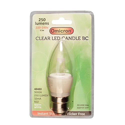 Omicron 48480 B22 3,5 W LED Bougie BC Ampoule à économie d'énergie, blanc transparent