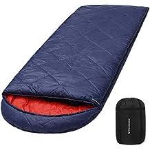SONGMICS Saco de Dormir con Bolsa de Compresión, 4 Estaciones, Fácil de Llevar,