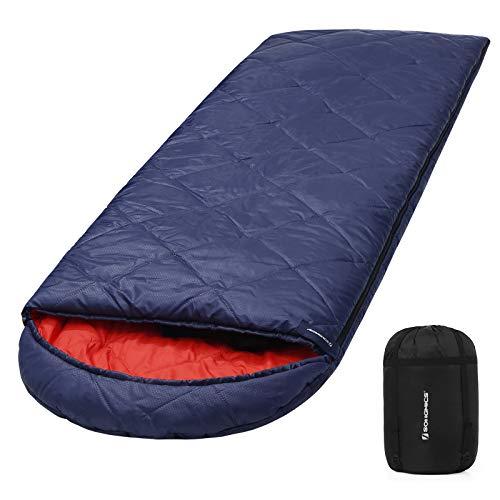 SONGMICS Saco de Dormir con Bolsa de Compresión, 4 Estaciones, Fácil de Llevar, Ligero, Compacto, para Camping, Senderismo, Temperatura Ideal 5-15°C, Azul Oscuro GSB20QR