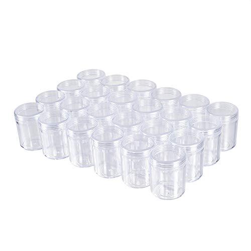 BENECREAT 24 Pack (40ml) Contenitore di Stoccaggio Vuoto Barattolo di Plastica Trasparente con Tappi a Vite per Perline, Glitter, Trucco, Cosmetici e Crema