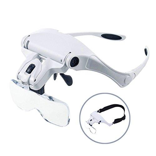 GuDoQi® Lupenbrille mit Licht LED Lupe Hände Frei Kopfband Lupen mit 2 LEDs und 5 Wechselobjektive für Elektriker Juweliere und ältere Menschen 1.0X bis 3.5X Zoom
