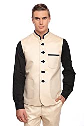 Fawn Linen Blended Nehru Jacket With Blue Velvet Highlights