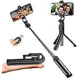 Palo Selfie Trípode, Palo Selfie Stick Bluetooth con Control Remoto, Extensible 3 en 1 Monópode para iPhone XS MAX XR 8 8 Plus 6 6s 7 7plus Android Huawei Samsung Galaxy