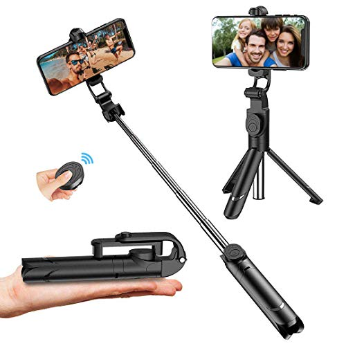 Palo Selfie Trípode, Palo Selfie Stick Bluetooth con Control Remoto, Extensible 3 en 1 Monópode para iPhone XS MAX XR 8 8 Plus 6 6s 7 7plus Android Huawei Samsung Galaxy