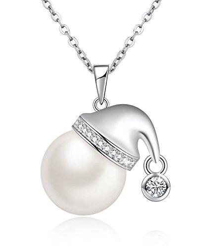 Weiß Perlen Kette mit Swarovski® Kristallen Süßwasser Zuchtperlen Halskette Damen mit Weihnachtsmützen Geformt Anhänger, Einzigartige Weihnachtsgeschenke für Mädchen, Geburtstagsgeschenke Frauen, 46CM