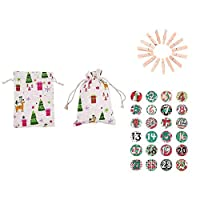 Loveinwinter Small Christmas Calendar Bag, 24 Clips + 24 Bags + 2 Stickers + Cotton Rope 10 m