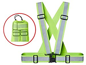 Xcelenze - Reflektorweste leicht, elastisch und größenverstellbar inklusive praktischer Tasche zum Transport