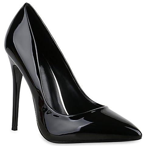 Spitze Damen Pumps Stiletto High Heels Lack Glitzer Party Denim Snake Velours Elegante Abend Schuhe 137160 Schwarz Lack 38   (High Heels Pumps)