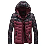 Luckycat Herren Herbst Winter warme Packwork Pocket Camouflage Zipper Hooded Jacket Top Coat Winterjacke Steppjacke Daunenjacke Parka Mäntel Jacken
