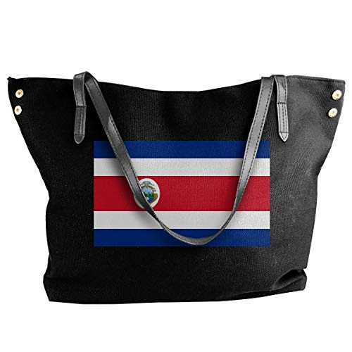 shuangshao liu shliu-1 Schultertasche Bag Costa Rica Flag Canvas Schultertasche Bag Tote Bag For Womens Black