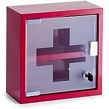 Zeller 18467 - Botiquín metálico (25 x 12 x 25 cm), color rojo