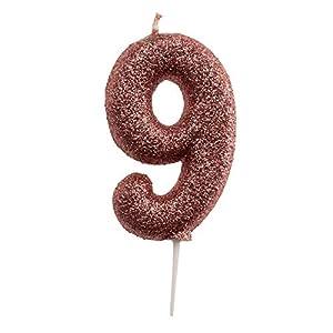 Dekora- Vela de Cumpleaños Numero 9 con Purpurina Rosa (345348)