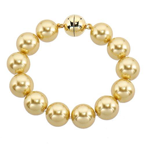 Pfeffinger Damen Armband Sterling-Silber 925 vergoldet Südsee-Muschelkernperlen Magnetschließe