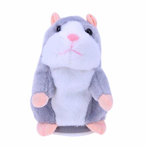 Hamster Spielzeug Sprechen (Adorable interessante Sprechende Hamster Maus Baby Kinder Plüsch Spielzeug,wiederholt was du sagst,geeignet für Kinder und Erwachsene (Grau))