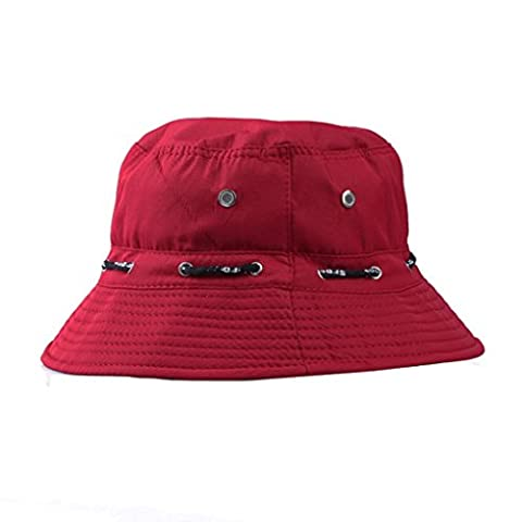 LUFA pêcheur Summer Cotton Safari Randonnée Bucket Hat Sun Cap réglable crushable Red