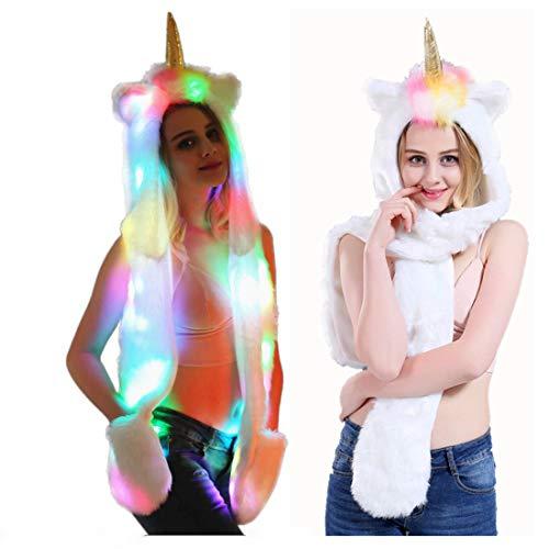 About Beauty Imitación Piel Unicornio Animal Sombrero Bufanda Guantes Mitones 3-En-3 Función Sudadera Peluda con Patas Orejas Mostrar Carnaval Navidad Halloween