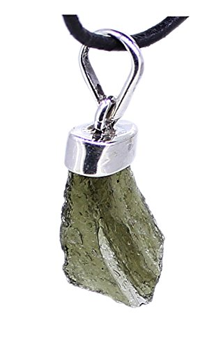 Anhänger Moldavit natur, 925er Sterling Silber, Edelsteinanhänger (Glasmeteorit)