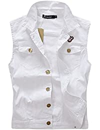 BININBOX® Herren Jungen Jeansweste Weste Jeans Jacke Jeansjacke Denim Slim  Fit Weiß Beige Frühling Sommer 8c8b1eeccf