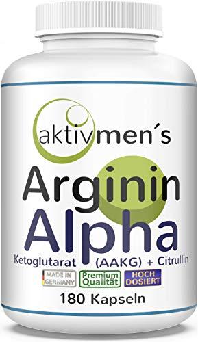 AAKG - aktivmen´s ARGININ ALPHA plus CITRULLIN - HOCHDOSIERT + von Experten* geprüft | 180 Kapseln AAKG + L-Citrullin Malat - made in Germany - 100{449bf6054e3acb623b5416eb9a330ba9552cf7396038d4ee20772e9d9de13a68} vegan, 1 Dose (1 x 156,6 g)