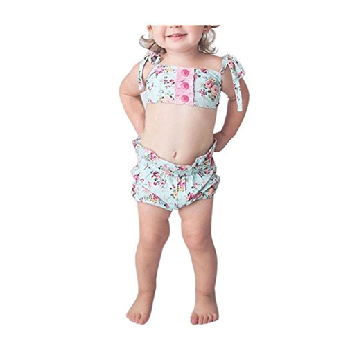 Schwarzer Anzug Trennt (Badebikini zahuihuiM Toddler Baby Girl Beautiful Floral Print, Ruched Button & Lovely Bowknot Decoration Bikini Suit Swimsuit - 2 tlg (Top + Shorts) (80))