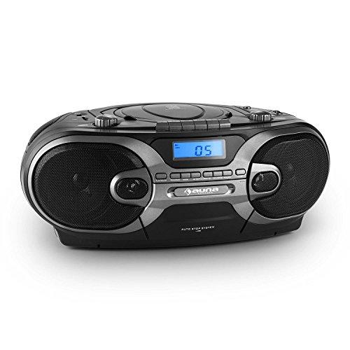 auna RCD 230 stereo portatile radio boombox con lettore CD e mangianastri per cassette (Tuner AM / FM, USB SD per MP3, Bass Boost) - nero
