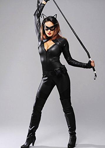 Magic Box Int. Damen schwarzes böses Catwoman Style Kostüm L (UK (Catwoman Kostüm Kostüme Uk)