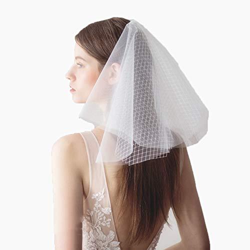 (LETFF Braut Hochzeit Schleier Kopfschmuck Multi-Layer-Short Abendessen Zubehör Zubehör Foto Requisiten und Kamm (weiß))