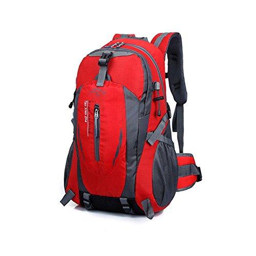 Bergsteigenbeutel Multifunktions-Reithängetasche Outdoor-Sport-Reise Doppel-Schulter Rucksack wasserdichte Tasche Red