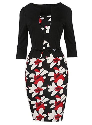 (MisShow Damen 3/4 Arm Cocktailkleid 1950er Jahre Business Stretch Kleid FS0671 Schwarz 2XL)
