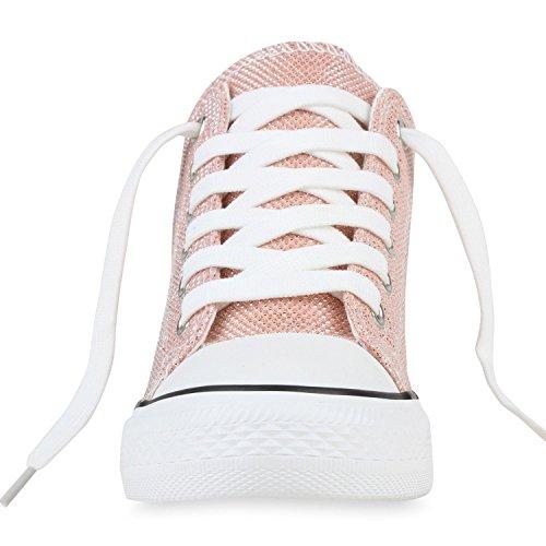 Sneaker-Wedges Damen Zipper Sneakers Turnschuhe Keil Absatz Rosa Glitzer
