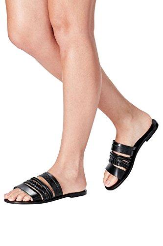 next Sandales En Cuir Avec Ornements Standard Femme Noir