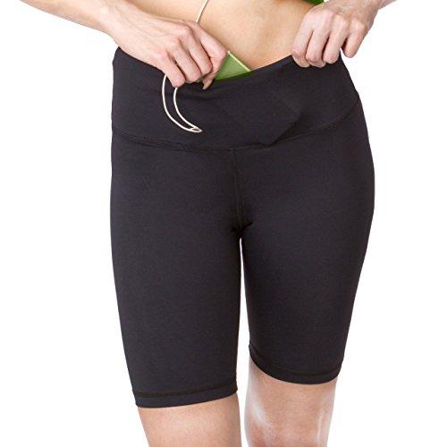 sport-it Aktiv lang Shorts | Workout Bike Shorts mit Taschen | Damen Running Shorts | Active Shorts, damen, schwarz -