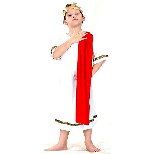 Kinder rot Römischen Kaisers Caesar Griechische Toga Abendkleidkostüm Schal 7-9 (Kaiser Kostüm Kind)
