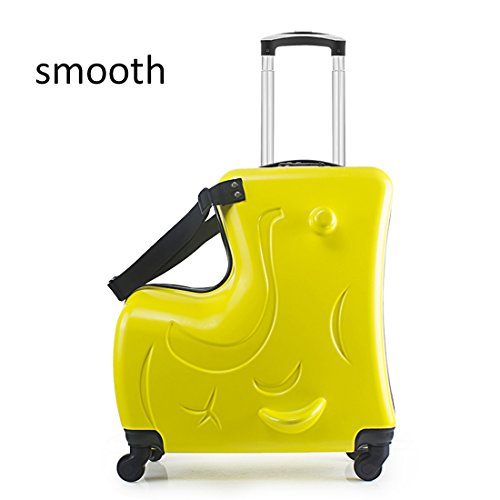 Trolley Valigia Cavalcabile Per Bambini Ride On Carry Suitcase Macchine Veicoli,Yellow,Smooth