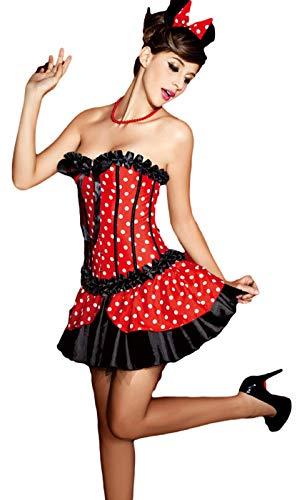 Fancy Me Damen sexy Burleske Korsage Minnie Mouse Halloween Kostüm Kleid Outfit - Rot, 8-10, Rot (Sexy Minnie Kostüm)