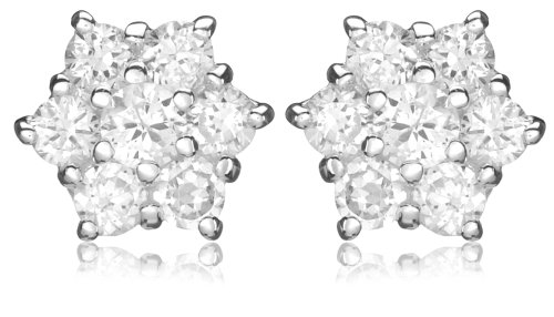 Tuscany Silver Sterling Silver Cubic Zirconia Cluster Stud Earrings