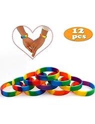 caa9254d85e2 VAMEI Pulseras Rainbow de Orgullo Gay 6 Colores Pulseras de Caucho de  Silicona LGBT Party Pulseras