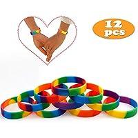 e005c59589e1 VAMEI Pulseras Rainbow de Orgullo Gay 6 Colores Pulseras de Caucho de  Silicona LGBT Party Pulseras