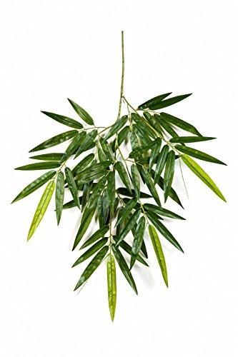 artplants Künstlicher Bambuszweig BENJIRO mit 60 Blättern, grün, 65 cm – Deko Zweig/Bambus Dekoration